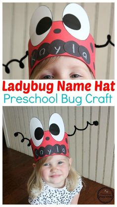 Bug Activities - Planning Playtime - Bugs and Insects Fun for Preschoolers - Lady Bug Hat Craft for Preschool – Preschool Name Crafts - Preschool Name Crafts, Kids Crafts, Hat Crafts, Toddler Preschool, Toddler Crafts, Quick Crafts, Toddlers And Preschoolers, Bug Activities, Toddler Activities