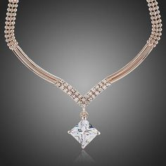 Add some sparkle with this elegant Rose Gold Plated Square CZ Stone NecklaceChain Type:Link ChainPendant Zirconia & Stellux Austrian Standard:Lead, Nickel, Cadmium freeFree Shippi. Pearl Stud Earrings, Diamond Pendant Necklace, Sterling Silver Earrings Studs, Crystal Earrings, Necklace Chain, Stone Necklace, Pendant Jewelry, Gold Necklace, Wedding Jewelry