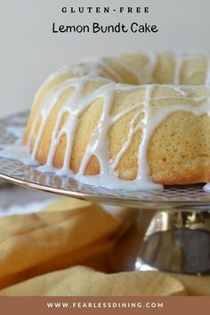 This delicious gluten free lemon bundt cake is a great dessert for anytime. Top with a lemonade icing, this simple cake recipe is sure to please the whole party. fearlessdining Gluten Free Bundt Cake Recipe, Gluten Free Lemon Cake, Gluten Free Sweets, Gluten Free Cakes, Gluten Free Baking, Dairy Free Recipes, Lemon Desserts, Lemon Recipes, Easy Cake Recipes