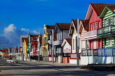 Costa Nova (near Aveiro) Portugal is famous for its striped & colorful houses. (I love little villages filled with color. Costa Nova Portugal, Visit Portugal, Portugal Travel, Portugal Trip, Algarve, Beautiful Places To Visit, Places To See, Wonderful Places, Amazing Places