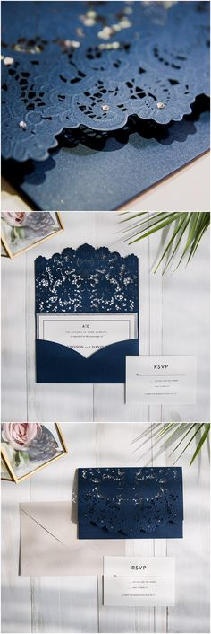 elegant navy blue laser cut pocket wedding invitation with silver layered cards