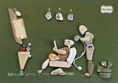 """Hair salon"" pebble art by Hara"
