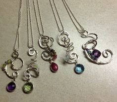 Hammered Sterling Gemstone Necklaces for sale at The Brooks Museum