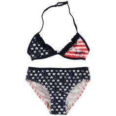 Vingino bikini (AJ3-S13F/lolette/darkblue) Stars and Stripes bikini (model Lolette) van Vingino. De bikini heeft een lichte vintage look en de top is voorzien van roesels en verstelbare bandjes.