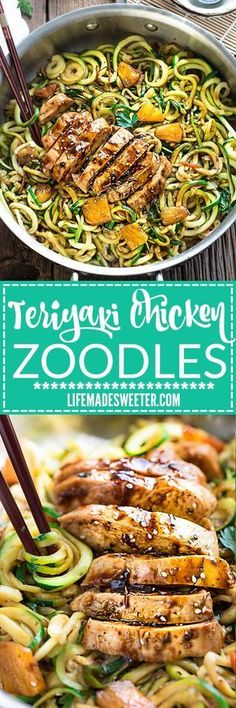 One Pot Teriyaki Chicken Zoodles + Video! One Pot Teriyaki Chicken Zoodles {Zucchini Noodles} make the perfect easy low carb weeknight meal! Best of all so much better than takeout - only 30 minutes to make with just one pan to clean! Paleo Recipes, Asian Recipes, Low Carb Recipes, Cooking Recipes, Hamburger Recipes, Vegetarian Zoodle Recipes, Keto Recipes Dinner Easy, Zucchini Dinner Recipes, Healthy Noodle Recipes