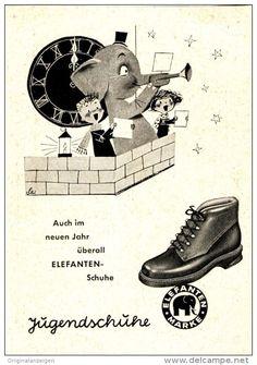 Original-Werbung 1950 er Jahre - ELEFANTEN SCHUHE - ca. 65 x 100 mm