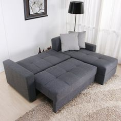 $584 and free shipping full size pull out bed DHP Sutton Convertible Sectional Sofa