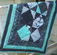 Contemporary Baby Quilt turquoise and grey by TickledPinkQuilts, $60.00