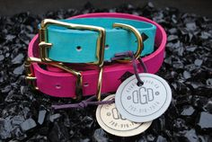 Pink & Brass Leather Dog Collar by dogdoggoose on Etsy