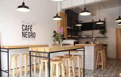 Café Negro: the new cafeteria of Coyoacán Deco Pizzeria, Deco Restaurant, Restaurant Design, Cafe Bar, Cafe Shop, Small Coffee Shop, Coffee Shop Design, Coffee Shops, Minimalist Interior