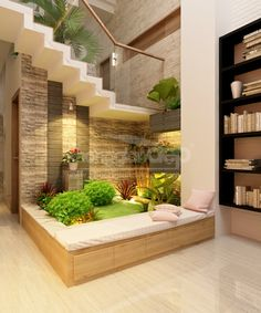 15 Perfect Indoor Garden Design Ideas For Fresh Houses home design Plant Office Design, Fresh House, Home Interior Design, Garden Office, House Design, Staircase Design, Interior Garden, House Interior, Home Garden Design