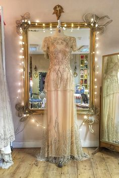 Image of SAMPLE SALE;Titania style flower embellished champagne lace and silk wedding dress, UK size 8 1930s Style Wedding Dresses, Stunning Wedding Dresses, Beautiful Gowns, Wedding Skirt, Gowns Of Elegance, Elegant Gowns, Formal Gowns, Victorian Gown, Vintage Gowns