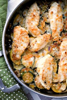 White Cheddar Chicken and Zucchini Skillet | thetwobiteclub.com