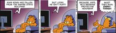 WORD SPECIFIC | from comic Garfield | Words provide all you need to know while pictures illustrate aspects of the scene being described. Here, you can get the gist of the story by just reading the text. The image just gives the story an atmosphere of monotony and tiredness, represented through the repetition of the same scene to show the passing of time and the dull and muted colour scheme.