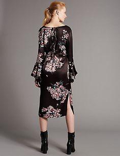 Floral Print Bow Back Shift Dress | M&S