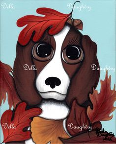 """""""Puppy Love"""" 8X10 acrylic on stretched canvas. By Della Daughtry. Sorry this painting is SOLD!"""