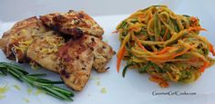 Gourmet Girl Cooks: Grilled Lemon Herb Marinated Chicken Medallions w/ Tri-Color Veggie Alfredo  #wheatbelly #grainfree #lowcarb