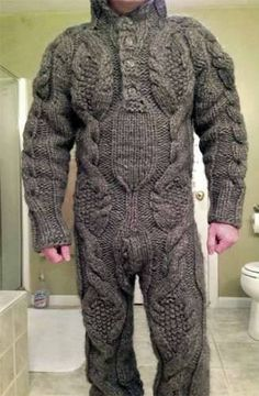 A Guy Wearing a Full Body Cable Sweater - or - Another Bad Bathroom Portrait .and it looks worse from the back! Pull Torsadé, Cable Sweater, Ugly Sweater, Cable Knit, Men Sweater, Weird Fashion, Guy Pictures, Stay Warm, Pulls