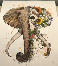 Elephant illustration by Dino Nemec