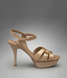 YSL Low Heel Tribute Sandal in Beige Graphic Patent Leather