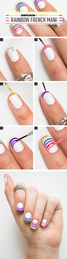 Nail Art How-To: Rainbow French Manicure  - Cosmopolitan.com