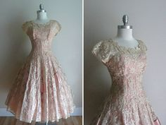 Vintage 1950s Emma Domb Pink Lace Party by CreatedAndCollected, $325.00