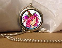 Party Girl Art Necklace, Ribbons Pendant, Pink Eyes Necklace, Pink Hair, Fantasy Artwork, Art Pendant, Floating Charm, Fantasy Pendant by NanaFantasyJewelry on Etsy