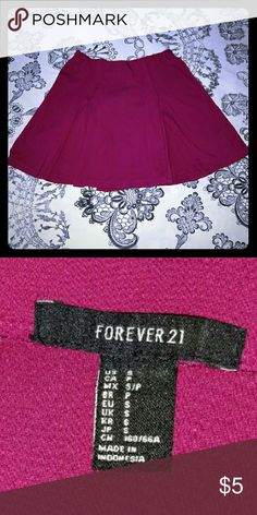 FOREVER 21- PINK MINI SKIRT Pink pleated mini skirt (14 inches long) with elastic waistband. Pre-worn but still in good condition. Forever 21 Skirts Mini