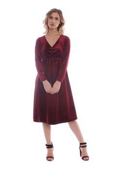 Rochie grena din catifea BRN-21803111 -  Ama Fashion Dresses, Fashion, Vestidos, Moda, Fashion Styles, Dress, Fashion Illustrations, Gown, Outfits
