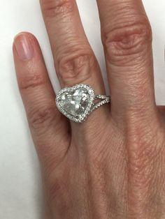 Heart Shaped Diamond Engagement Ring, Halo Diamonds Encrusted Ring, Split Band, 4.40ct Ring Vintage Style, Handmade, 18k White Gold Ring