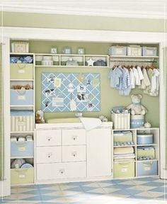 love this idea. Remove the sliding closet doors and putting a dresser/changing table in the closet to save space.  @Kristin Morrison by Errikos Artdesign