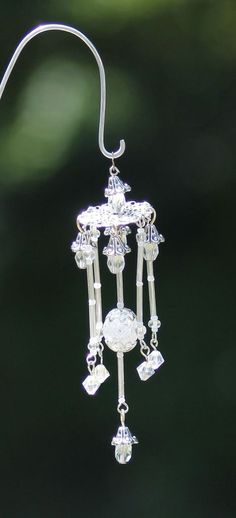 Items similar to Miniature Fairy Garden Wind Chime Dollhouse Windchime Mini Garden Accessory Silver White Clear 009 on Etsy Garden Accessoires Barbie, Fairy Crafts, Twig Crafts, 3d Quilling, Fairy Garden Houses, Fairy Gardening, Fairy Furniture, Fairy Garden Accessories, Fairy Doors