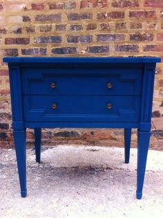 Vintage Side Table In Sapphire Blue