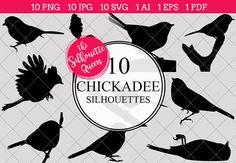 Chickadee Silhouette Clipart Clip by The Silhouette Queen on Silhouette Clip Art, Animal Silhouette, Black Silhouette, Tree Silhouette, Silhouette Studio, Vector Design, Logo Design, Graphic Design, Animal Cutouts
