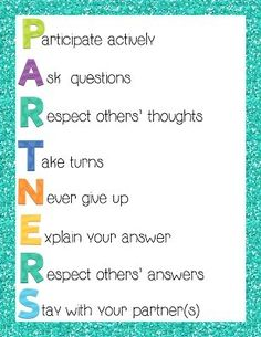 working in partners is hard for kids, love this poster