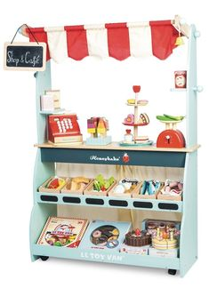 Le Toy Van Shop and Cafe. Wooden market stall and play shop with fast delivery. Buy Le Toy Van Honeybake Play Shop & Cafe Marketstall online now! Playroom Storage, Playroom Decor, Playroom Seating, Small Playroom, Lp Storage, Record Storage, Playroom Ideas, Hanging Chalkboard, Chalkboard Signs