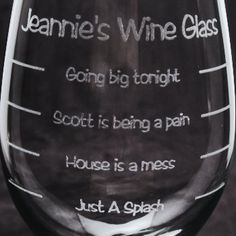 Graduated Wine Glass - Custom engraved personalized etched graduated wine glass