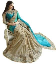 Buy Saree in Blue embroidered chiffon with blouse chiffon-saree online
