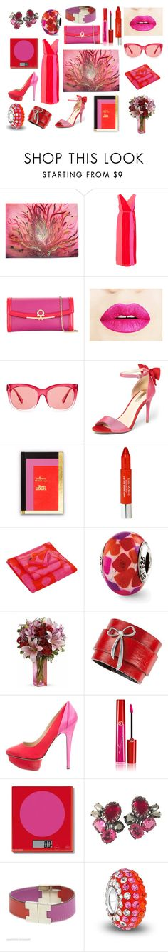 """Pink loves Red❤️💕"" by ipekzsuel on Polyvore featuring Salvatore Ferragamo, Coach, Dorothy Perkins, Tom Dixon, Trish McEvoy, Marimekko, Charlotte Olympia, Giorgio Armani, Schiaparelli and Hermès"