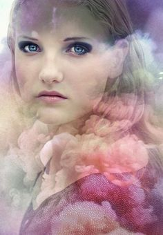 ... art work of a beautiful young woman in soft pastel clouds  blue eyes, woman, blonde hair, pinks, purples, lavender