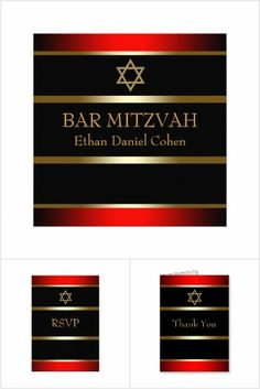 Red Black Gold Bar Mitzvah