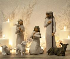 Nativity set by Willow Tree ® includes six figures; Behold the awe and wonder of the Christmas Story. The tallest figure is figurines include Joseph, Mary kneeling and holding the Christ child, Shepherd holding sheep, two sheep and one donkey. Christmas Greenery, Christmas Tree Themes, Christmas Nativity, Christmas Quotes, A Christmas Story, Rustic Christmas, Christmas 2019, Christmas And New Year, Christmas Home