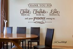Kitchen Wall Decal -Thank You For the Food Friends Love- Quote Cooking Blessing VInyl Home Decor