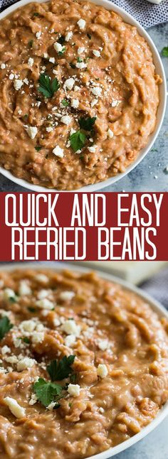 These Quick and Easy Refried Beans are made easy using canned pinto beans. They are healthier made without the refry and are also vegetarian.