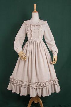 Little Dipper -Simple But Elegant- Pure Color Classic Lolita OP Dress - Work Dresses Old Fashion Dresses, Old Dresses, Vintage Dresses, Vintage Outfits, Girls Dresses, Vintage Fashion, Fashion Outfits, Fashion Boots, Cute Fashion