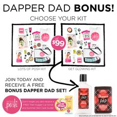 Free Dapper Dad Bonus! Join Posh now, through May 30th and receive a free Dapper Dad Lotion & Chunk Set — just in time for Father's Day. Hurry, Dapper Dad Lotion & Chunk are available only while supplies last. Offer ends May 30, 2016 at 12:00 PM (MT). Join now!!! >> poshinghoneybee.po.sh/join