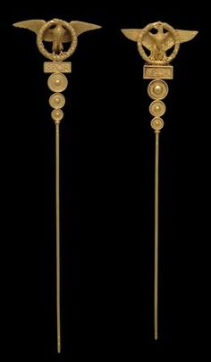 Gold and ivory hair pin, Fortunato Pio Castellani, 1860-1862, Rome, Italy