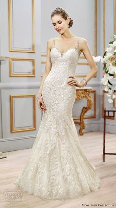 Moonlight collection spring 2016 wedding dresses beautiful mermaid gown trumpet fit flare lace thin spagetti strap sweetheart neckline embroidery lace j6401
