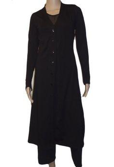Ooh La La Front Button Long Cardigan Sweater Jacket (medium bust 34-35, black)