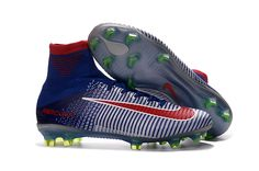 728afc71257 Nike Mercurial Superfly V FG Soccer Shoes Blue White Red on  www.evensoccer.com